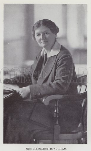 Miss Margaret Bondfield. Illustration for The Book of The Labour Party edited by Herbert Tracey (Caxton, c 1925).