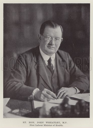 Right Honourable John Wheatley, MP, First Labour Minister of Health. Illustration for The Book of The Labour Party edited by Herbert Tracey (Caxton, c 1925).