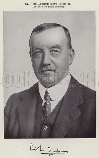 Right Honourable Arthur Henderson, MP, Labour's First Home Secretary. Illustration for The Book of The Labour Party edited by Herbert Tracey (Caxton, c 1925).