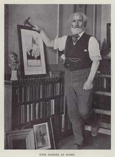 Keir Hardie at Home. Illustration for The Book of The Labour Party edited by Herbert Tracey (Caxton, c 1925).