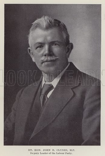 Right Honourable John R Clynes, MP, Deputy Leader of the Labour Party. Illustration for The Book of The Labour Party edited by Herbert Tracey (Caxton, c 1925).