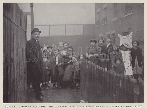 Bow and Bromley Election, Mr Lansbury Visits his Constituents in Prince Arthur Alley. Illustration for The Book of The Labour Party edited by Herbert Tracey (Caxton, c 1925).