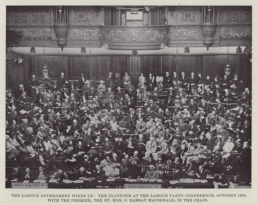 The Labour Government Winds Up, the Platform at the Labour Party Conference, October 1924, with the Premier, the Right Honourable J Ramsay MacDonald, in the Chair. Illustration for The Book of The Labour Party edited by Herbert Tracey (Caxton, c 1925).