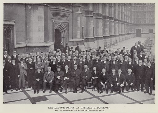 The Labour Party as Official Opposition, on the Terrace of the House of Commons, 1923. Illustration for The Book of The Labour Party edited by Herbert Tracey (Caxton, c 1925).