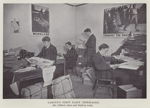 Labour's First Daily Newspaper, Mr Clifford Allen and Staff at work. Illustration for The Book of The Labour Party edited by Herbert Tracey (Caxton, c 1925).