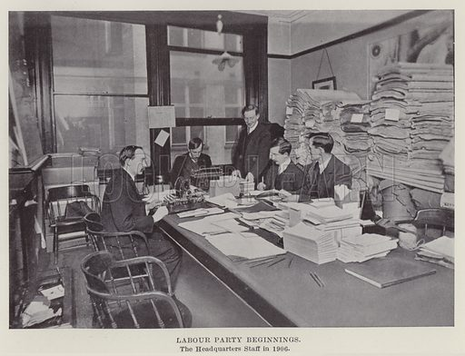 Labour Party Beginnings, the Headquarters Staff in 1906. Illustration for The Book of The Labour Party edited by Herbert Tracey (Caxton, c 1925).