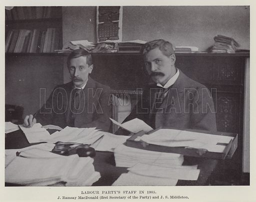 Labour Party's Staff in 1905, J Ramsay MacDonald, first Secretary of the Party and JS Middleton. Illustration for The Book of The Labour Party edited by Herbert Tracey (Caxton, c 1925).