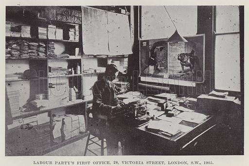 Labour Party's First Office, 28, Victoria Street, London, SW, 1905. Illustration for The Book of The Labour Party edited by Herbert Tracey (Caxton, c 1925).