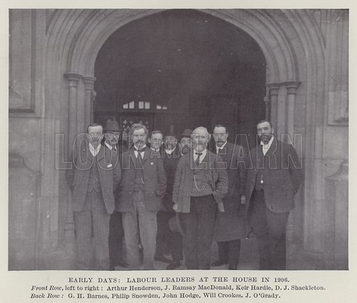 Early Days, Labour Leaders at the House in 1906. Illustration for The Book of The Labour Party edited by Herbert Tracey (Caxton, c 1925).