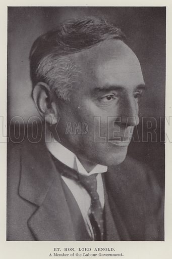 Right Honourable Lord Arnold, a Member of the Labour Government. Illustration for The Book of The Labour Party edited by Herbert Tracey (Caxton, c 1925).