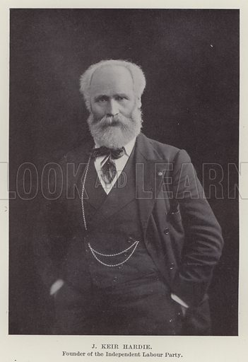 J Keir Hardie, Founder of the Independent Labour Party. Illustration for The Book of The Labour Party edited by Herbert Tracey (Caxton, c 1925).