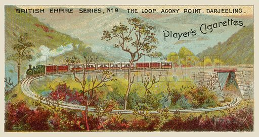 The Loop Agony Point, Darjeeling. Illustration for one of a series of cigarette cards on the subject of the British Empire published by Player's Cigarettes, early 20th century.
