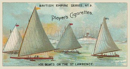 Ice Boats on the St Lawrence. Illustration for one of a series of cigarette cards on the subject of the British Empire published by Player's Cigarettes, early 20th century.