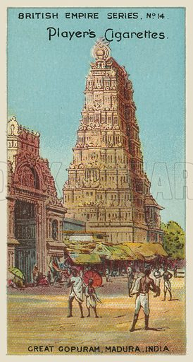 Great Gopuram, Madura, India. Illustration for one of a series of cigarette cards on the subject of the British Empire published by Player's Cigarettes, early 20th century.