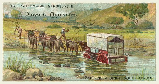 Crossing a Drift, South Africa. Illustration for one of a series of cigarette cards on the subject of the British Empire published by Player's Cigarettes, early 20th century.