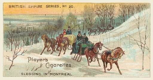 Sledging in Montreal. Illustration for one of a series of cigarette cards on the subject of the British Empire published by Player's Cigarettes, early 20th century.