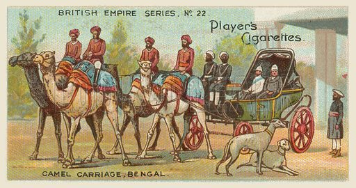 Camel Carriage, Bengal. Illustration for one of a series of cigarette cards on the subject of the British Empire published by Player's Cigarettes, early 20th century.