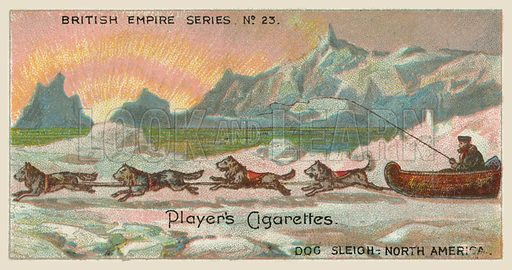 Dog Sleigh, North America. Illustration for one of a series of cigarette cards on the subject of the British Empire published by Player's Cigarettes, early 20th century.
