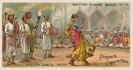 Nautch Dance, India. Illustration for one of a series of cigarette cards on the subject of the British Empire published by Player's Cigarettes, early 20th century.