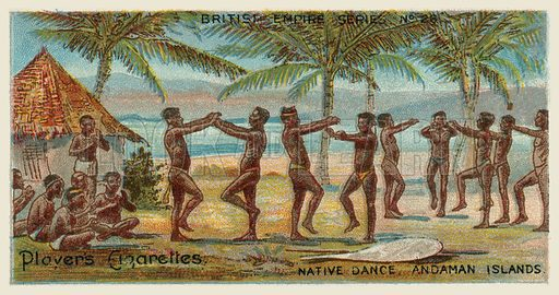 Native Dance, Andaman Islands. Illustration for one of a series of cigarette cards on the subject of the British Empire published by Player's Cigarettes, early 20th century.
