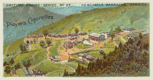 Newcastle Barracks, Jamaica. Illustration for one of a series of cigarette cards on the subject of the British Empire published by Player's Cigarettes, early 20th century.