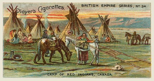 Camp of Red Indians, Canada. Illustration for one of a series of cigarette cards on the subject of the British Empire published by Player's Cigarettes, early 20th century.
