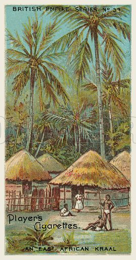 An East African Kraal. Illustration for one of a series of cigarette cards on the subject of the British Empire published by Player's Cigarettes, early 20th century.
