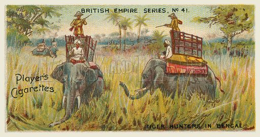 Tiger Hunters in Bengal. Illustration for one of a series of cigarette cards on the subject of the British Empire published by Player's Cigarettes, early 20th century.