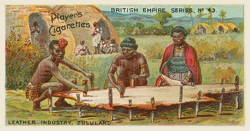 Leather Industry, Zululand. Illustration for one of a series of cigarette cards on the subject of the British Empire published by Player's Cigarettes, early 20th century.