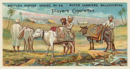 Water Carriers, Baluchistan. Illustration for one of a series of cigarette cards on the subject of the British Empire published by Player's Cigarettes, early 20th century.