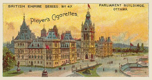 Parliament Buildings, Ottawa. Illustration for one of a series of cigarette cards on the subject of the British Empire published by Player's Cigarettes, early 20th century.