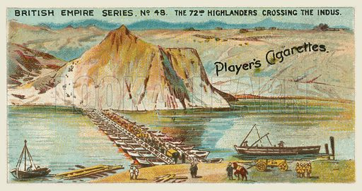 The 72nd Highlanders Crossing the Indus. Illustration for one of a series of cigarette cards on the subject of the British Empire published by Player's Cigarettes, early 20th century.
