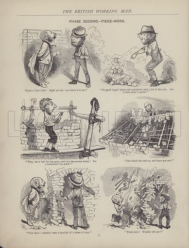 Illustration for The British Working Man or One Who Does Not Believe In Him and other sketches by JF Sullivan, engraved by Dalziel Brothers (Fun Office, 1878).
