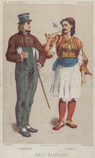 Race Blanche, Scandinave, Grec. Illustration for Les Races Humaines by Louis Figuier (Hachette, 1872).