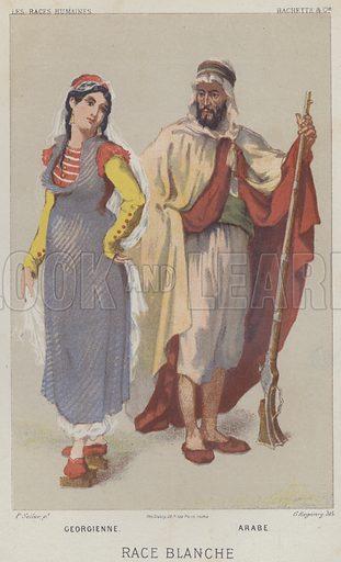 Race Blanche, Georgienne, Arabe. Illustration for Les Races Humaines by Louis Figuier (Hachette, 1872).