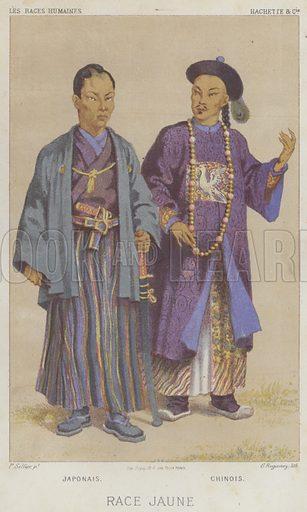 Race Jaune, Japonais, Chinois. Illustration for Les Races Humaines by Louis Figuier (Hachette, 1872).