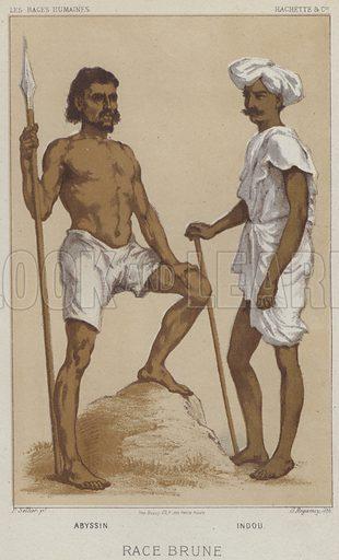 Race Brune, Abyssin, Indou. Illustration for Les Races Humaines by Louis Figuier (Hachette, 1872).