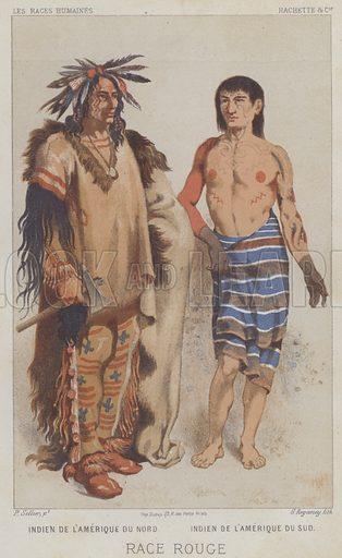 Race Rouge, Indien de l'Amerique du Nord, Indien de l'Amerique du Sud. Illustration for Les Races Humaines by Louis Figuier (Hachette, 1872).