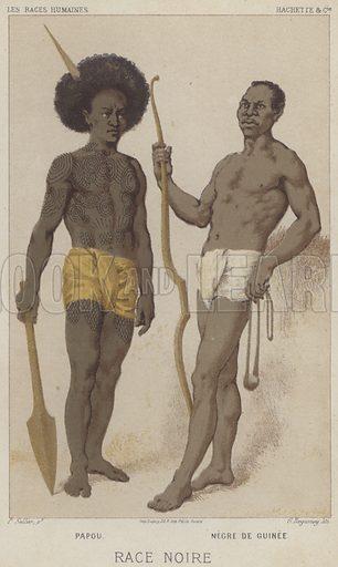 Race Noire, Papou, Negre de Guinee. Illustration for Les Races Humaines by Louis Figuier (Hachette, 1872).