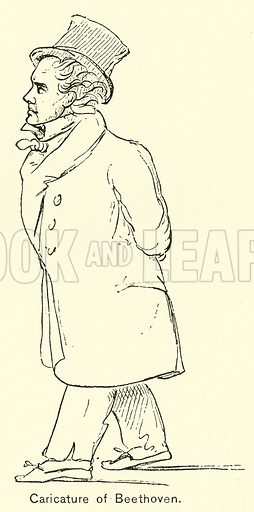 Caricature of Beethoven. Illustration for Cyclopedia of Music and Musicians edited by John Denison Champlin (Charles Scribner, 1889).