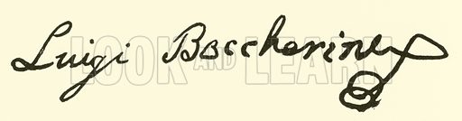 Luigi Boccherini, 1743–1805, signature. Illustration for Cyclopedia of Music and Musicians edited by John Denison Champlin (Charles Scribner, 1889).