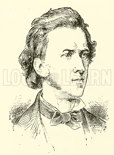(Francois) Frederic Chopin. Illustration for Cyclopedia of Music and Musicians edited by John Denison Champlin (Charles Scribner, 1889).