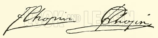 (Francois) Frederic Chopin, signature. Illustration for Cyclopedia of Music and Musicians edited by John Denison Champlin (Charles Scribner, 1889).