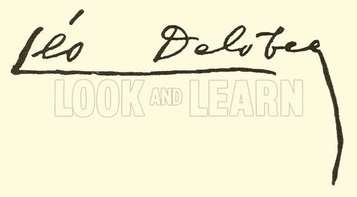 Leo Delibes, signature. Illustration for Cyclopedia of Music and Musicians edited by John Denison Champlin (Charles Scribner, 1889).