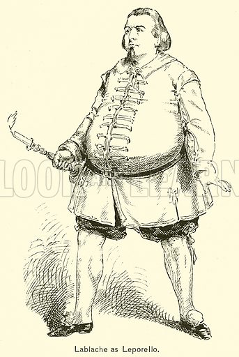 Lablache as Leporello. Illustration for Cyclopedia of Music and Musicians edited by John Denison Champlin (Charles Scribner, 1889).