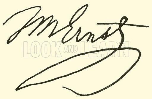 Heinrich Wilhelm Ernst, 1814–1865, signature. Illustration for Cyclopedia of Music and Musicians edited by John Denison Champlin (Charles Scribner, 1889).
