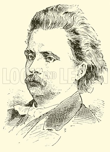 Edvard (Hagerup) Grieg. Illustration for Cyclopedia of Music and Musicians edited by John Denison Champlin (Charles Scribner, 1889).