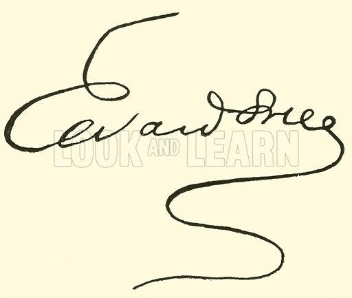 Edvard (Hagerup) Grieg, signature. Illustration for Cyclopedia of Music and Musicians edited by John Denison Champlin (Charles Scribner, 1889).