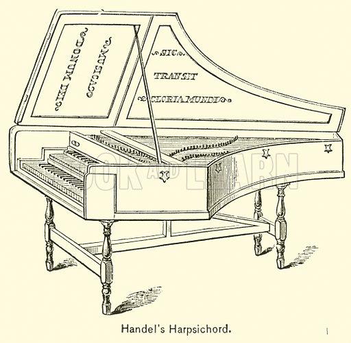 Handel's Harpsichord. Illustration for Cyclopedia of Music and Musicians edited by John Denison Champlin (Charles Scribner, 1889).