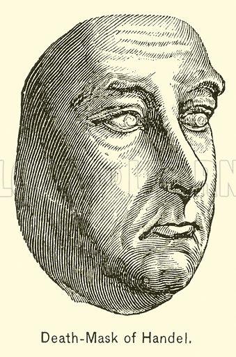 Death-Mask of Handel. Illustration for Cyclopedia of Music and Musicians edited by John Denison Champlin (Charles Scribner, 1889).